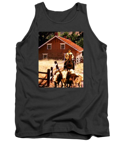 Tank Top featuring the photograph Calves by Timothy Bulone