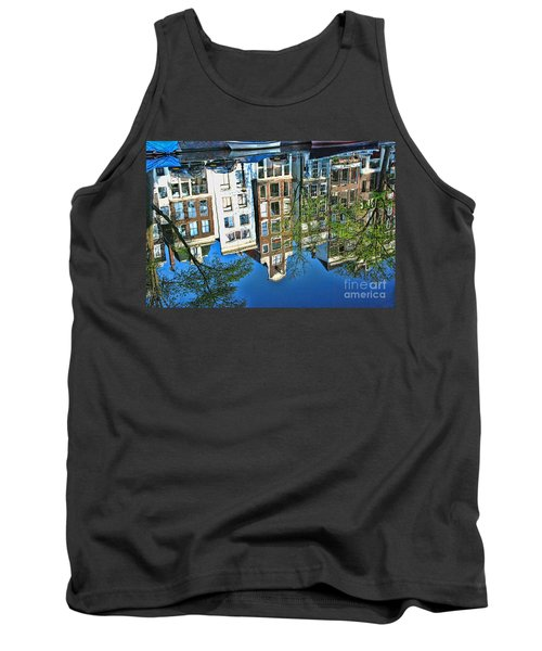 Tank Top featuring the photograph Amsterdam Canal Reflection  by Allen Beatty