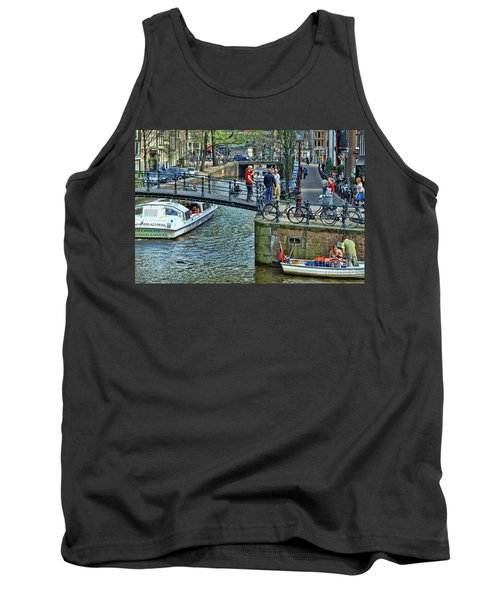 Tank Top featuring the photograph Amsterdam Canal Scene 1 by Allen Beatty