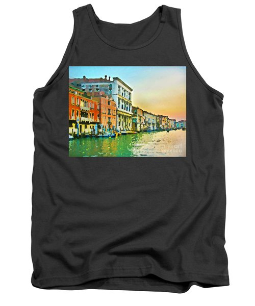 Canal Sunset - Venice Tank Top by Tom Cameron
