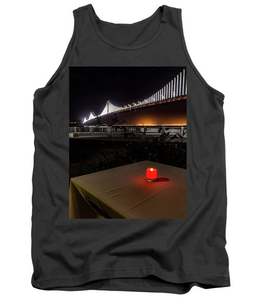 Tank Top featuring the photograph Candle Lit Table Under The Bridge by Darcy Michaelchuk