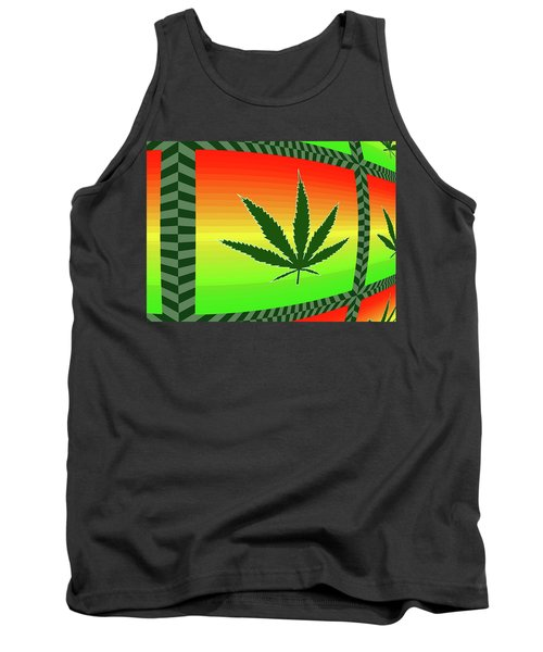 Tank Top featuring the mixed media Cannabis  by Dan Sproul