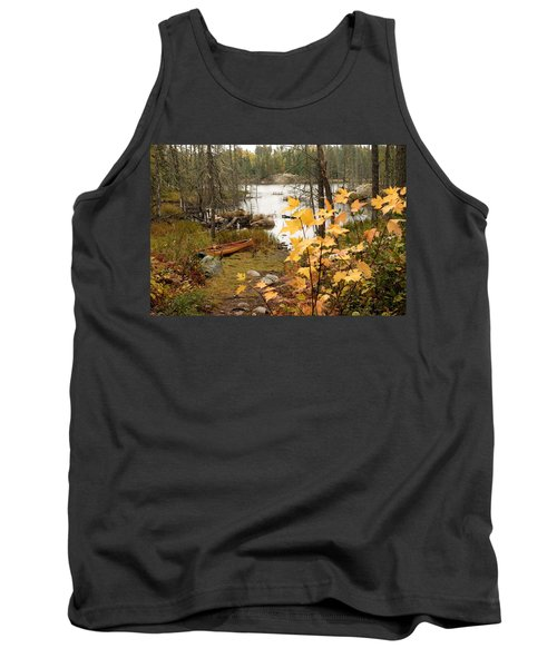 Canoe At Little Bass Lake Tank Top by Larry Ricker