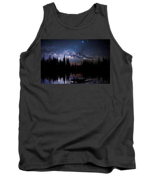 Tank Top featuring the photograph Canoeing - Milky Way - Night Scene by Andrea Kollo