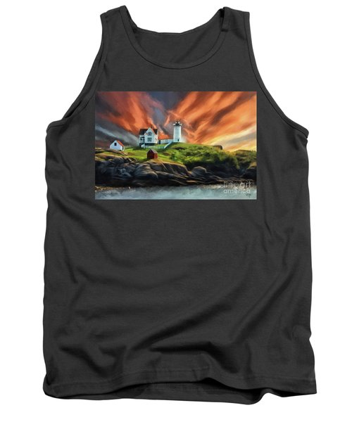 Tank Top featuring the digital art Cape Neddick Nubble Lighthouse by Lois Bryan