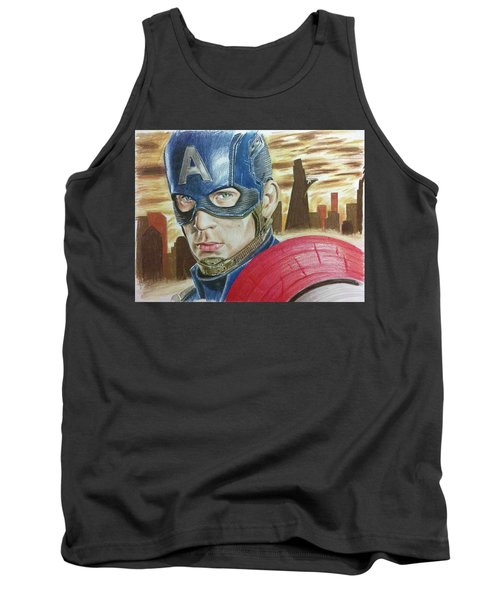 Tank Top featuring the drawing Captain America by Michael McKenzie