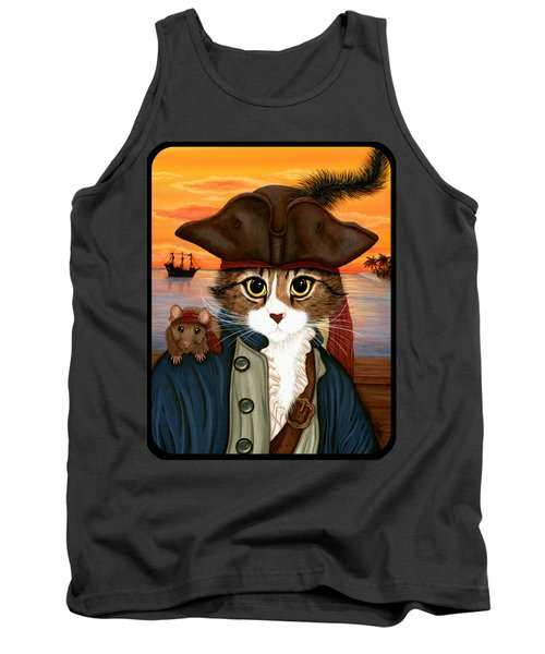 Tank Top featuring the painting Captain Leo - Pirate Cat And Rat by Carrie Hawks