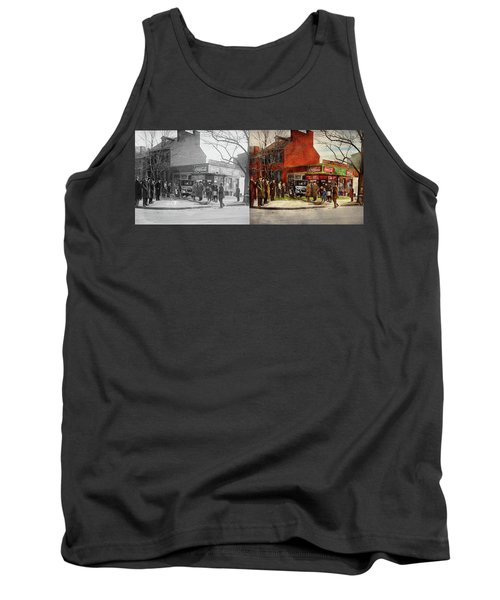 Tank Top featuring the photograph Car - Accident - Looking Out For Number One 1921 - Side By Side by Mike Savad
