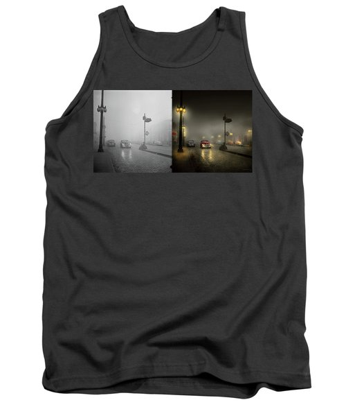 Tank Top featuring the photograph Car - Down A Lonely Road 1940 - Side By Side by Mike Savad