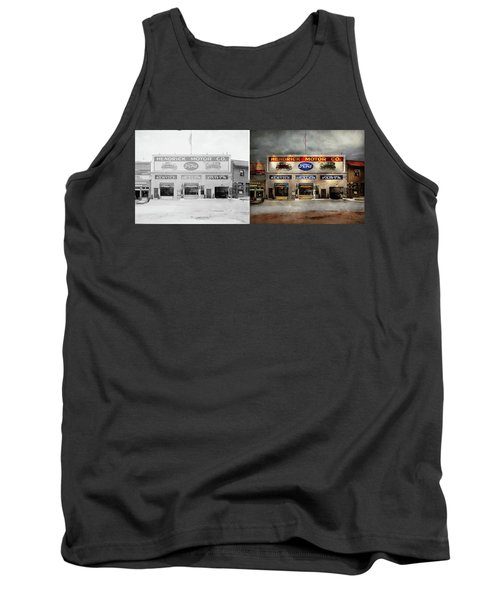Tank Top featuring the photograph Car - Garage - Hendricks Motor Co 1928 - Side By Side by Mike Savad