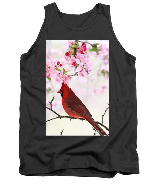 Cardinal Amid Spring Tree Blossoms Tank Top by Stephanie Frey