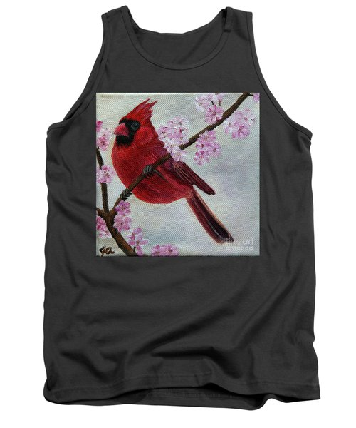 Cardinal In Cherry Blossoms Tank Top