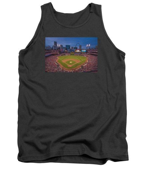 Cardinal Nation Busch Stadium St. Louis Cardinals Twilight 2015 Tank Top by David Haskett