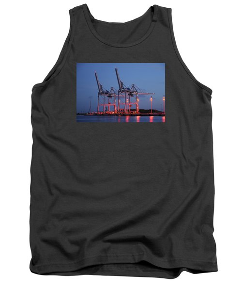 Tank Top featuring the photograph Cargo Cranes At Night by Bradford Martin