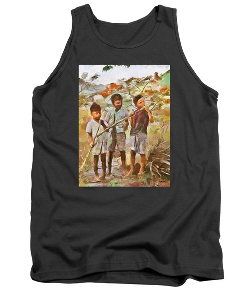 Tank Top featuring the painting Caribbean Scenes - Eating Sugarcane by Wayne Pascall