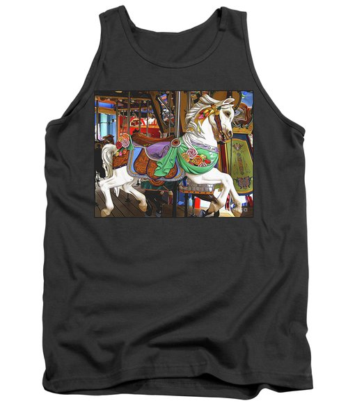 Carousel Horse Side View Tank Top