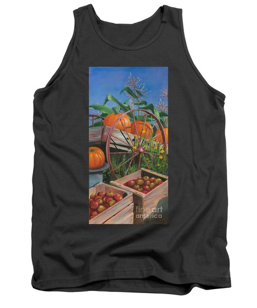 Tank Top featuring the painting Cartloads Of Pumpkins by Jeanette French