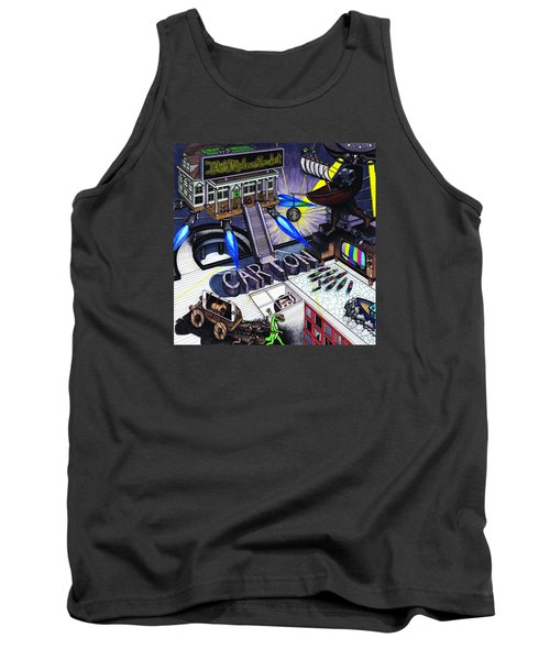 Tank Top featuring the drawing Carton Album Cover Artwork Front by Richie Montgomery