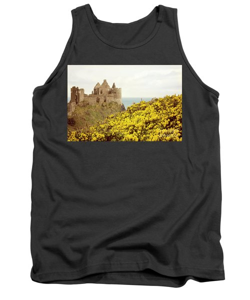 Tank Top featuring the photograph Castle Ruins And Yellow Wildflowers Along The Irish Coast by Juli Scalzi