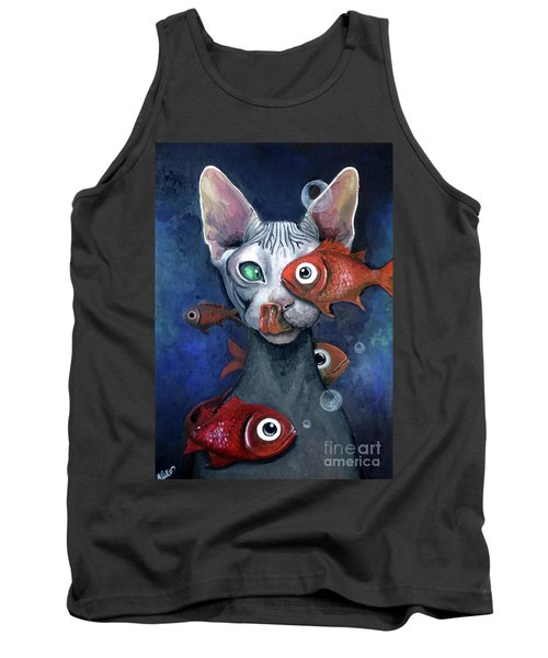 Cat And Fish Tank Top