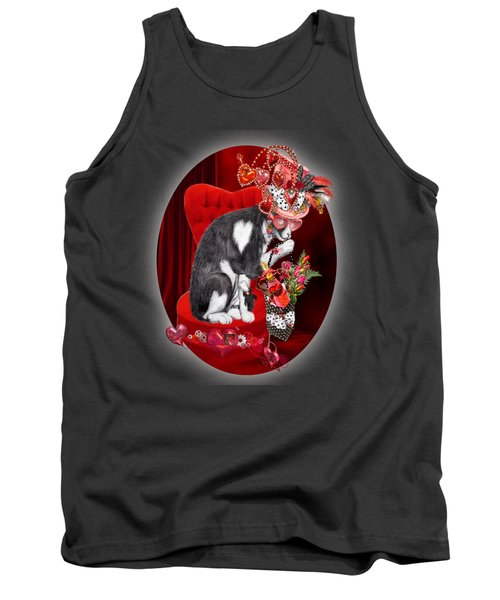 Tank Top featuring the mixed media Cat In The Valentine Steam Punk Hat by Carol Cavalaris