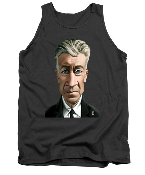 Tank Top featuring the drawing Celebrity Sunday - David Lynch by Rob Snow