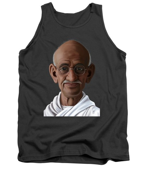 Tank Top featuring the drawing Celebrity Sunday - Mahatma Gandhi by Rob Snow