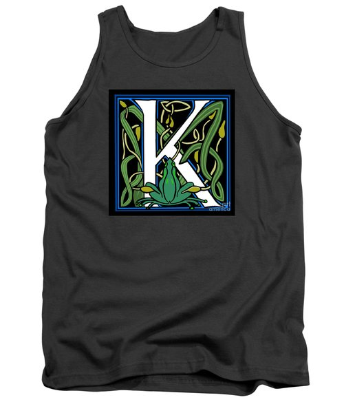 Tank Top featuring the digital art Celt Frog Letter K by Donna Huntriss