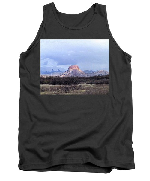 Tank Top featuring the painting Cerro Castellan And Mule Ears  by Dennis Ciscel