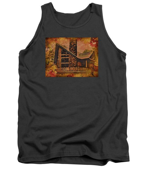 Tank Top featuring the digital art Chalet In Autumn by Kathy Kelly