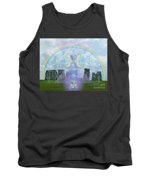 Chalice Over Stonehenge In Flower Of Life And Man Tank Top