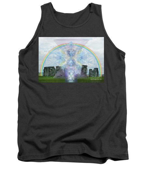 Tank Top featuring the digital art Chalice Over Stonehenge In Flower Of Life by Christopher Pringer