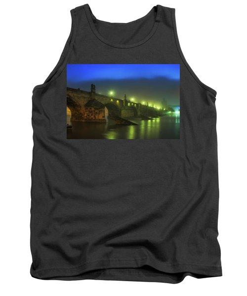 Charles Bridge Night In Prague, Czech Republic Tank Top
