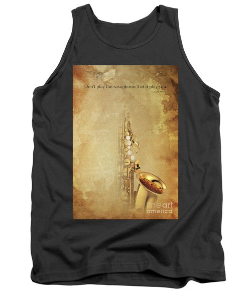 Charlie Parker Saxophone Brown Vintage Poster And Quote, Gift For Musicians Tank Top by Pablo Franchi