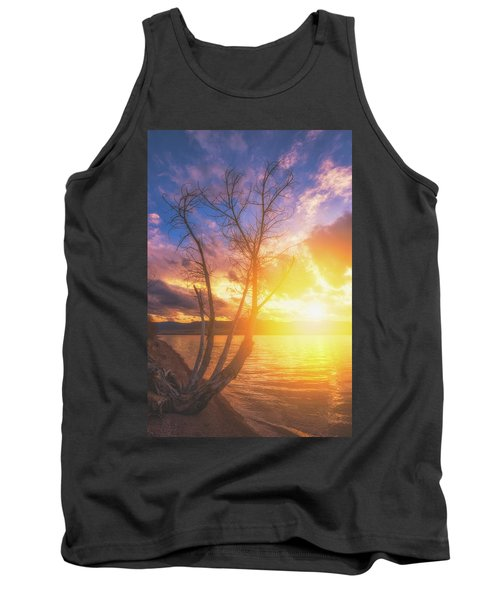 Tank Top featuring the photograph Chatfield Lake Sunset by Darren White