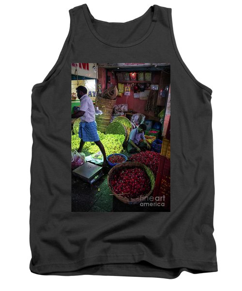 Tank Top featuring the photograph Chennai Flower Market Busy Morning by Mike Reid