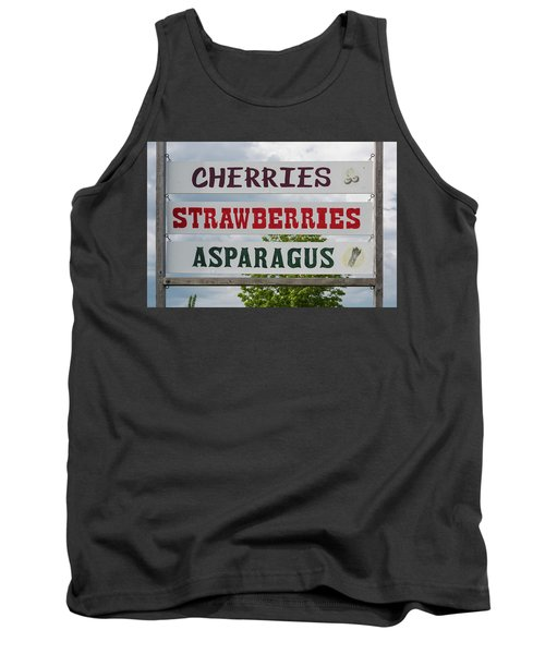 Cherries Strawberries Asparagus Roadside Sign Tank Top by Steve Gadomski