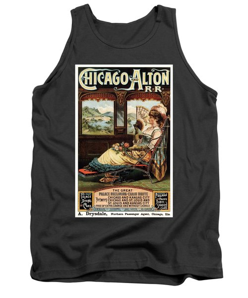 Chicago And Alton Railroad - Woman Sitting On Reclining Chair - Vintage Advertising Poster Tank Top