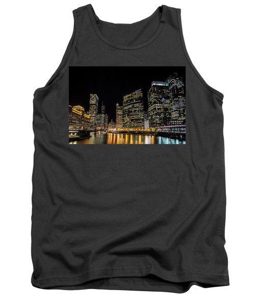 Chicago Night Skyline From Wolf Point Tank Top