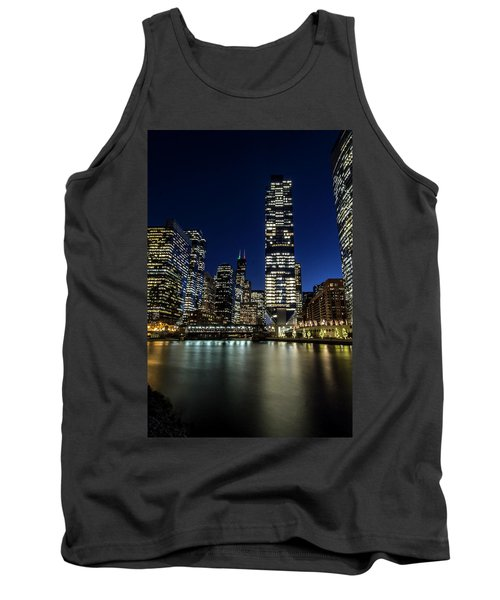 Chicago River And Skyline At Dusk  Tank Top