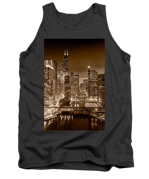 Chicago River City View B And W Tank Top