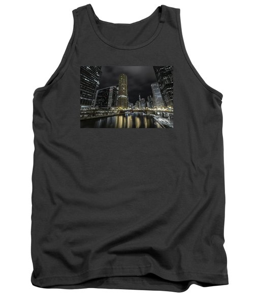 Tank Top featuring the photograph Chicago Riverfront Skyline At Night by Keith Kapple