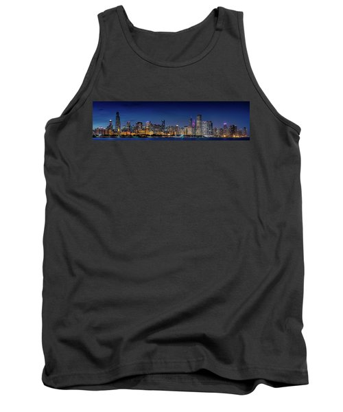 Tank Top featuring the photograph Chicago Skyline After Sunset by Emmanuel Panagiotakis