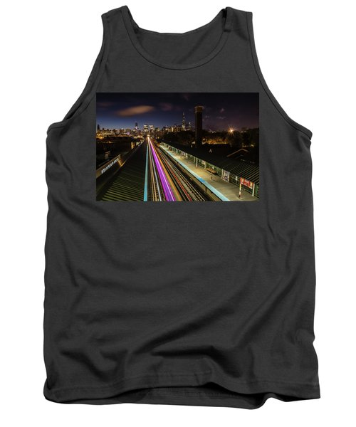 Chicago Skyline And Train Lights Tank Top