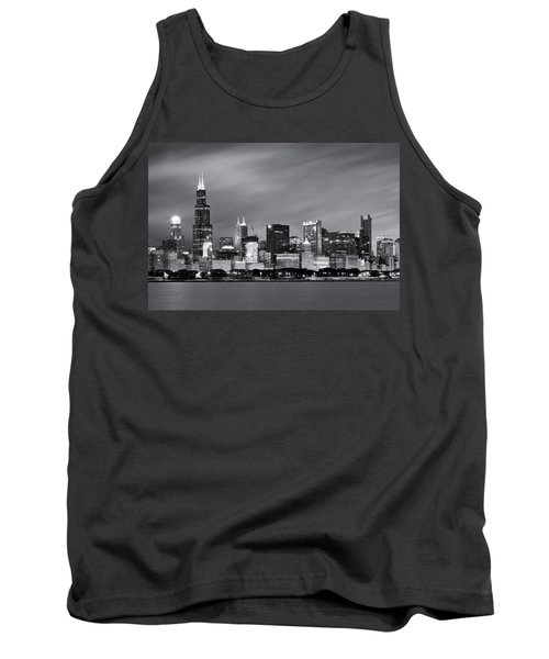 Tank Top featuring the photograph Chicago Skyline At Night Black And White  by Adam Romanowicz