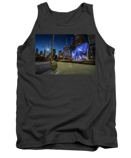 Chicago Skyline Form Maggie Daley Park At  Dusk Tank Top
