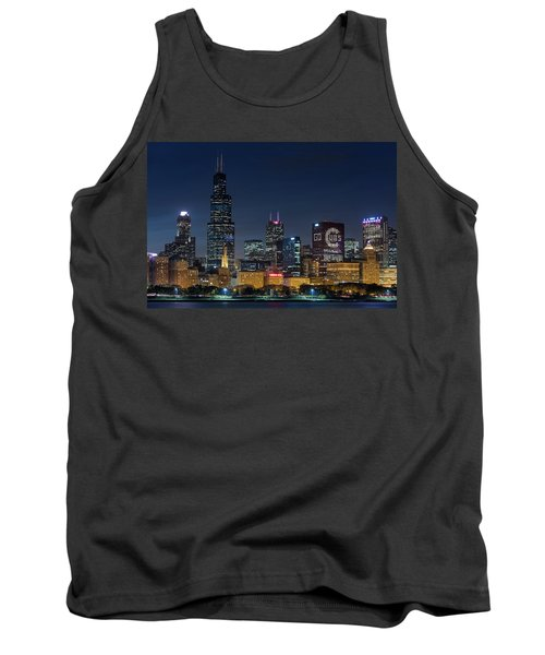 Tank Top featuring the photograph Chicago Skyline Go Gubs  by Emmanuel Panagiotakis