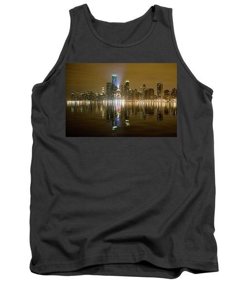 Tank Top featuring the photograph Chicago Skyline With Lindbergh Beacon On Palmolive Building by Peter Ciro