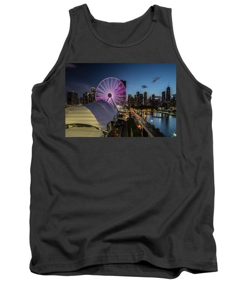Chicago Skyline With New Ferris Wheel At Dusk Tank Top
