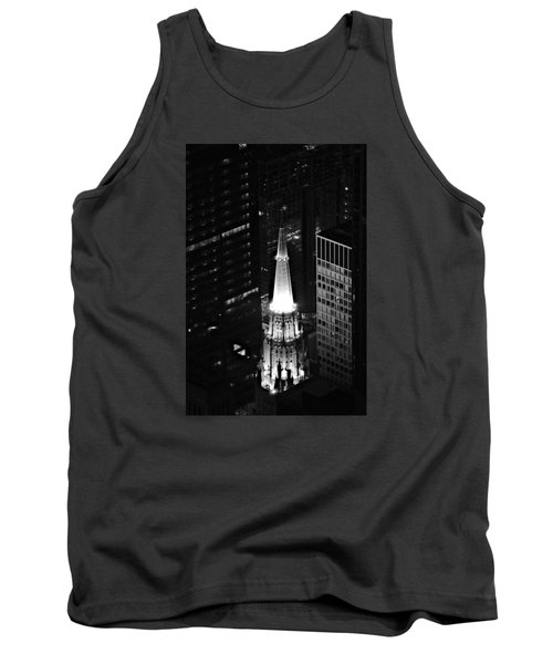 Chicago Temple Building Steeple Bw Tank Top by Richard Zentner